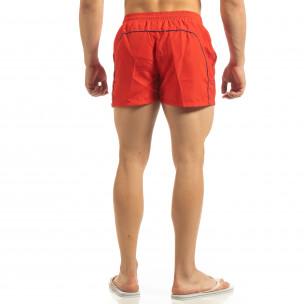 Șort de baie pentru bărbați roșu cu bandă albastră 2