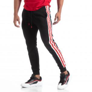 Pantaloni trening de bărbați flaușați negri cu benzi