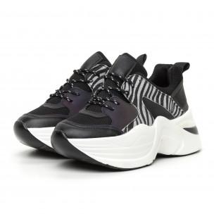 Pantofi sport voluminoși de dama negru și zebră 2