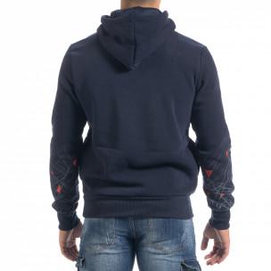 Hanorac hoodie de bărbați albastru cu imprimeu 2