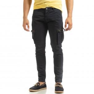 Pantaloni cargo albaștri drepți pentru bărbați  2