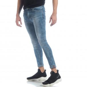 Skinny Washed Jeans albaștri pentru bărbați