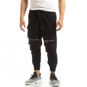 Pantaloni pentru bărbați Cropped negri cu buzunare Duca Homme