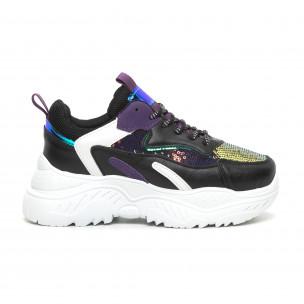 Pantofi sport de dama negri cu accente violet