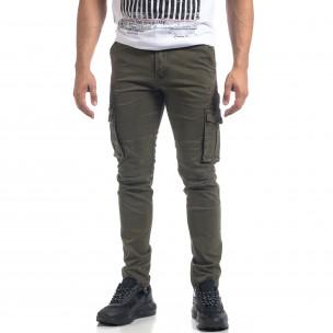 Pantaloni cargo drepți verzi de bărbați