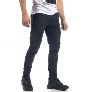 Pantaloni cargo drepți albaștri de bărbați