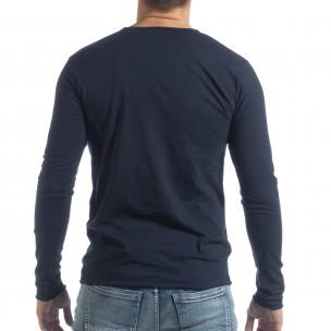 Bluză în albastru închis V-neck pentru bărbați  2