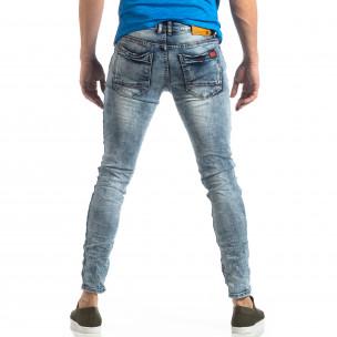 Washed Slim Jeans albaștri efect șifonat  2