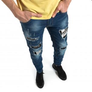 Blugi albaștri pentru bărbați cu imprimeu patch-uri