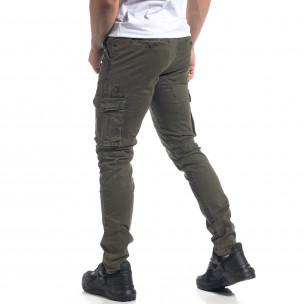 Pantaloni cargo drepți verzi de bărbați 2