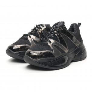 Pantofi sport de dama cu talpă voluminoasă și brocart 2