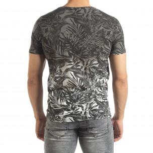 Tricou gri pentru bărbați motiv Leaves  2