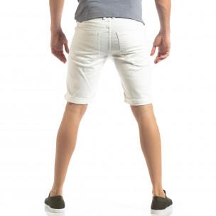 Bermude de blugi albi Basic pentru bărbați  2