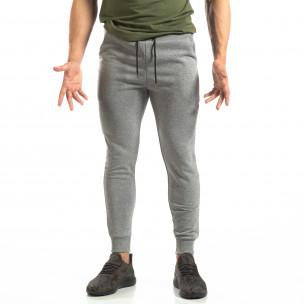 Pantaloni de trening de bărbați Basic gri din bumbac   2