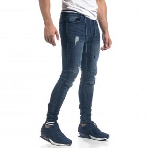 Blugi de bărbați albaștri cu talie elastică Skinny fit  2