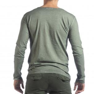 Bluză pentru bărbați verde Vintage stil  2