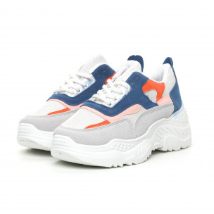 Pantofi sport de dama albi cu detalii colorate 2