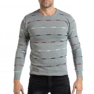 Pulover pentru bărbați gri cu dungi colorate
