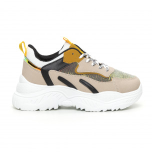 Pantofi sport de dama Chunky cu accente galbene