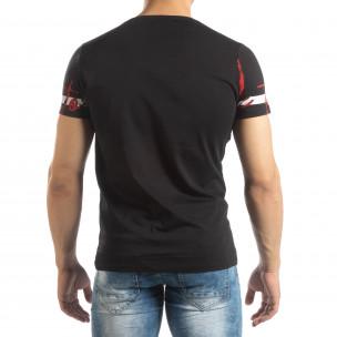 Tricou de bărbați negru cu imprimeu  2