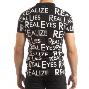 Tricou polo de bărbați negru cu inscripții 2