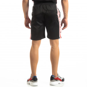 Pantaloni sport scurți negri de bărbați cu benzi și stele 2