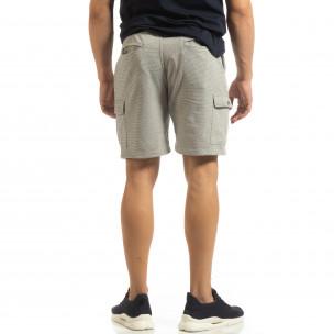 Șort cargo pentru bărbați din tricot gri cu dungi  2