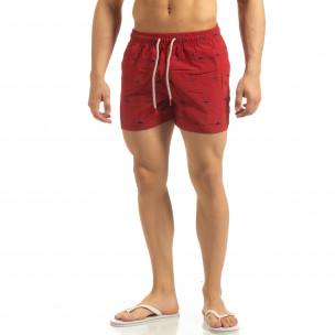 Costum de baie pentru bărbați roșu cu rechini