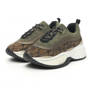 Pantofi sport voluminoși de dama în kaki și auriu 2
