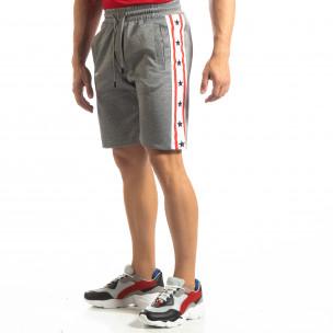 Pantaloni sport scurți gri de bărbați cu benzi și stele