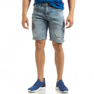 Bermude de blugi albaștri pentru bărbați  2