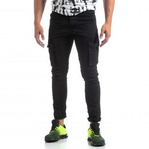 Pantaloni cargo negri drepți pentru bărbați Y-Chromosome 2
