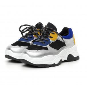 Pantofi sport de dama argintii cu părți colorate 2
