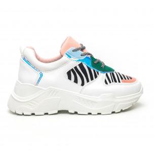 Pantofi sport de dama Chunky motiv zebră