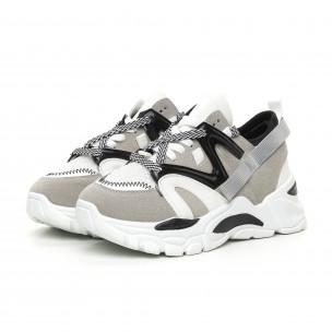 Pantofi sport de dama gri design Chunky 2