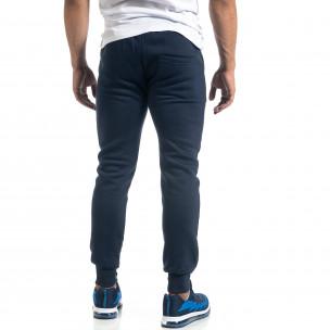Pantaloni de trening de bărbați albaștri cu buzunare aplicate  2