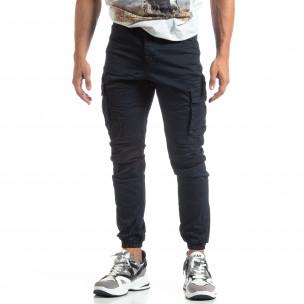 Pantaloni bleumarin de bărbați cu buzunare cargo 2