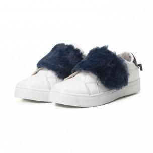 Teniși Slip-on albi de dama cu călcâi și puf albastru 2