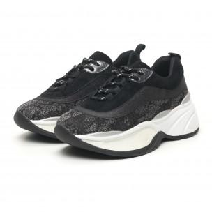 Pantofi sport voluminoși de dama în negru și argintiu 2