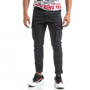 Pantaloni cargo gri drepți pentru bărbați 2