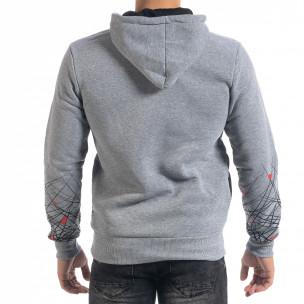 Hanorac hoodie de bărbați gri cu imprimeu 2