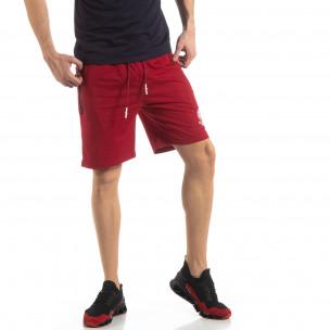 Pantaloni sport scurți în roșu închis pentru bărbați