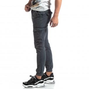 Pantaloni cargo gri de bărbați cu manșete din tricot
