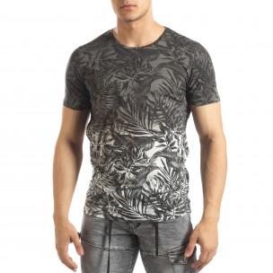 Tricou gri pentru bărbați motiv Leaves
