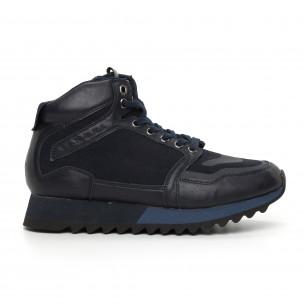 Pantofi sport înalți albaștri pentru bărbați