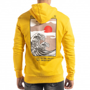 Hanorac galben din bumbac cu imprimeu pe spate  2