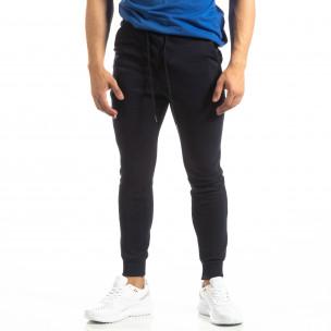 Pantaloni de trening de bărbați Basic bleumarin din bumbac   2