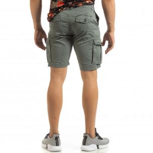 Pantaloni cargo scurți de bărbați în gri cu detaliu 2