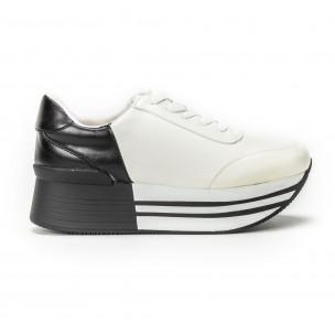 Pantofi sport cu platforma în negru-alb pentru dama