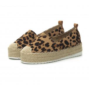 Espadrile de dama imprimeu leopard cu platformă  2
